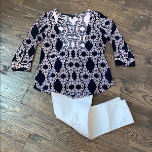 The Limited Lavender & Navy Blouse Size S